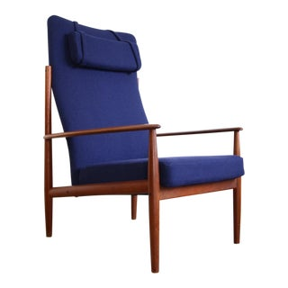 Grete Jalk High Back Lounge Reupholstered Chair For Sale