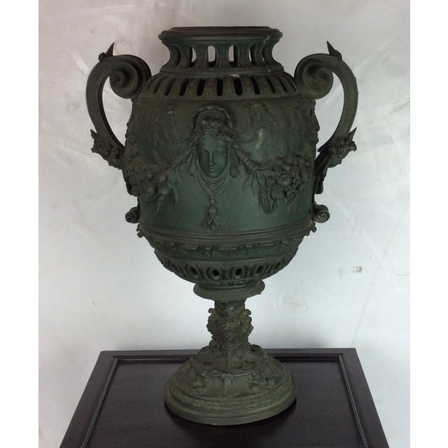 French patinated bronze urn with nice carvings and design