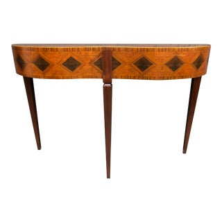Bow Marquetry Console Table by Modern History For Sale