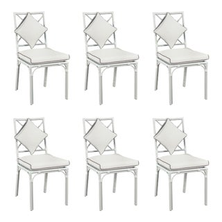Haven Outdoor Dining Chair, Canvas White with Canvas Coal Welt, Set of 6 For Sale