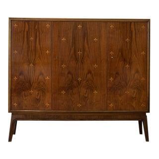 Otto Schulz Rare Cabinet With Fleur De Lys Marquetry for Boet, Sweden, Ca. 1940