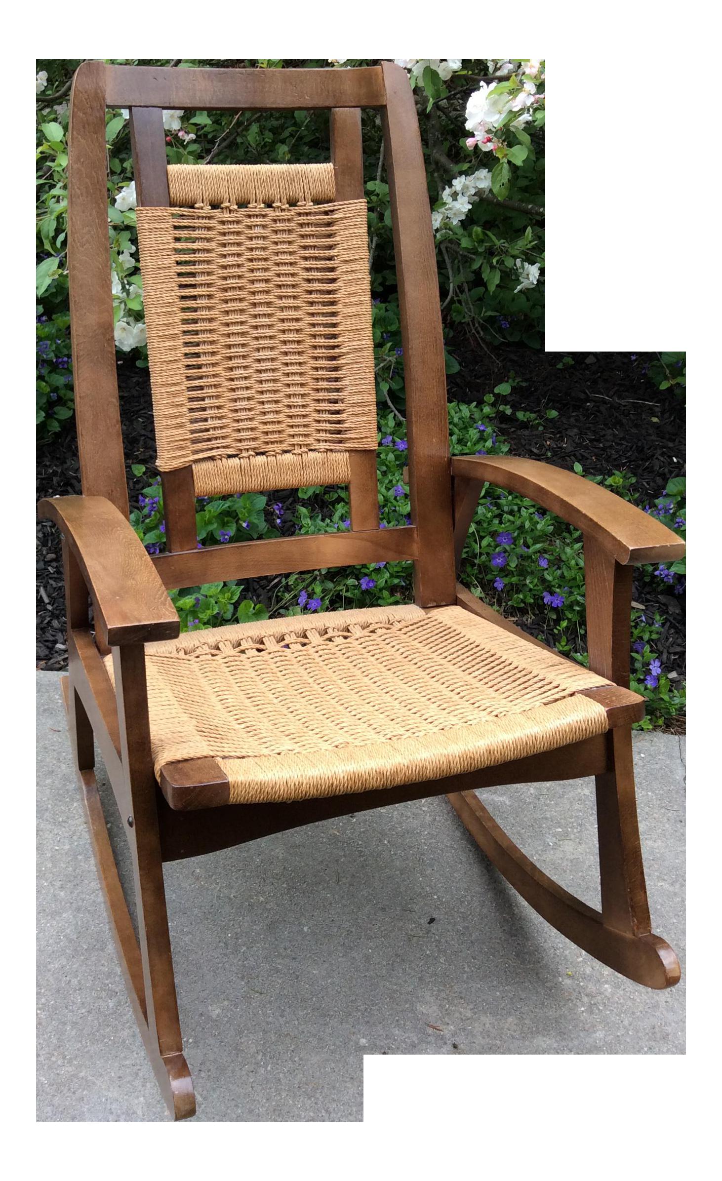 Hans Wegner Style Mid Century Modern Woven Rope Rocking Chair