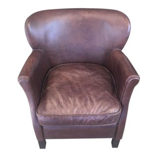 Modern Restoration Hardware Leather Club Chair For Sale