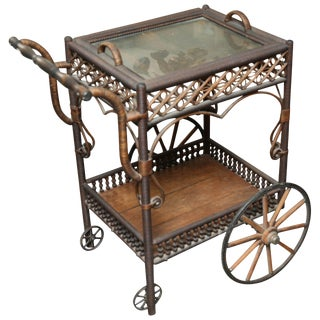 Superior Antique Wicker Bar / Tea Cart For Sale