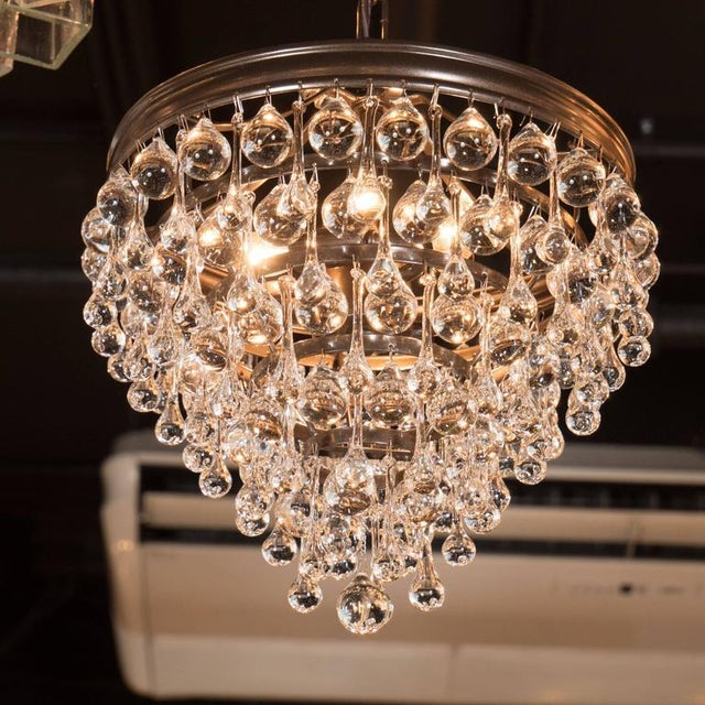 Hollywood Regency Crystal Teardrop and Ball Chandelier with Bronze Fittings For Sale - Image 9 of 10