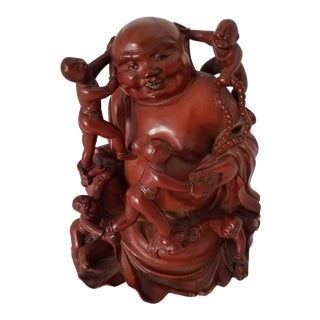 Antique Chinese Boxwood Carved Fertility Buddha Figurine For Sale