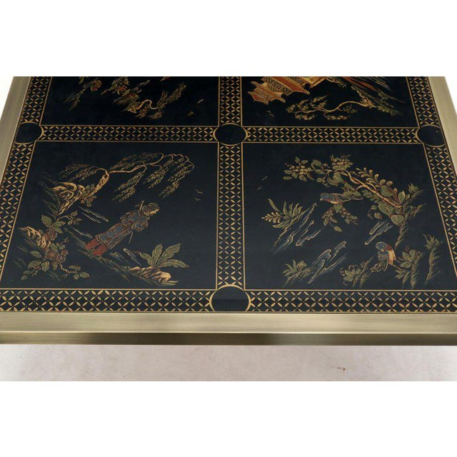Brass and Gold Decorated Reverse Painted Glass Top Square Coffee Table For Sale - Image 11 of 13