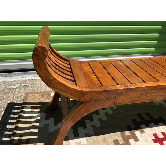 Asian Early 19th Century Antique Curved X-Framed Solid Teak Bench For Sale - Image 3 of 5