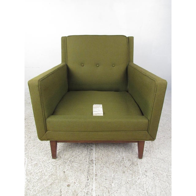 1970s Mid-Century Modern Upholstery and Cane Armchair For Sale - Image 5 of 10