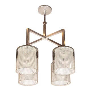 Scandinavian Mid-Century Modern Four-Arm Chandelier, Carl Fagerlund for Orrefors For Sale