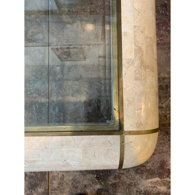 Maitland-Smith RectangleTessellated Stone & Brass Glass Top Coffee Table For Sale - Image 9 of 10