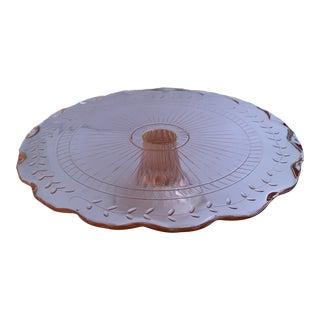 Pink Depression Glass Pedestal Cake Plate For Sale