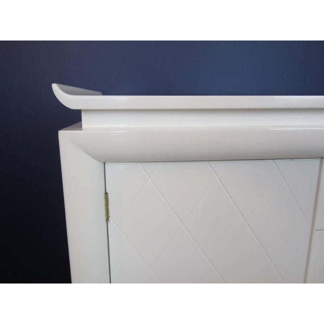 White Lacquer Chinoiserie Credenza - Image 6 of 10
