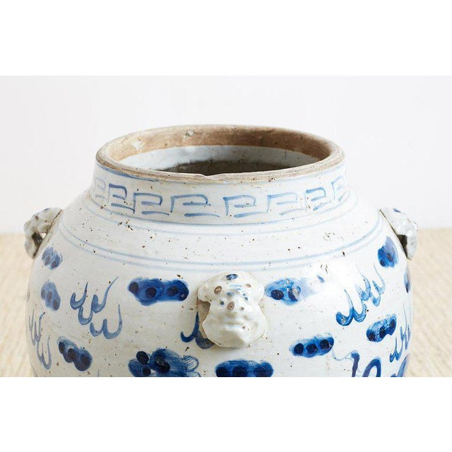 White Pair of Chinese Blue and White Ginger Jars and Foo Dogs For Sale - Image 8 of 13