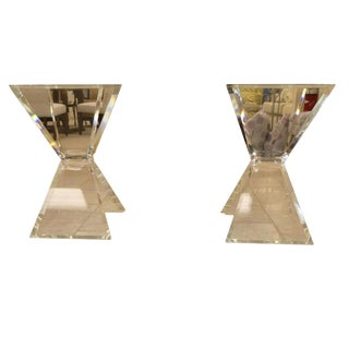 Mid-Century Modern 1970s Signed Verano Lucite Butterfly Table or Desk X-Bases - a Pair For Sale