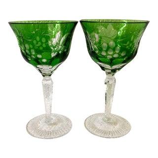 Vintage Ajka Emerald Marsala Wine/Sherry Glasses - a Pair For Sale