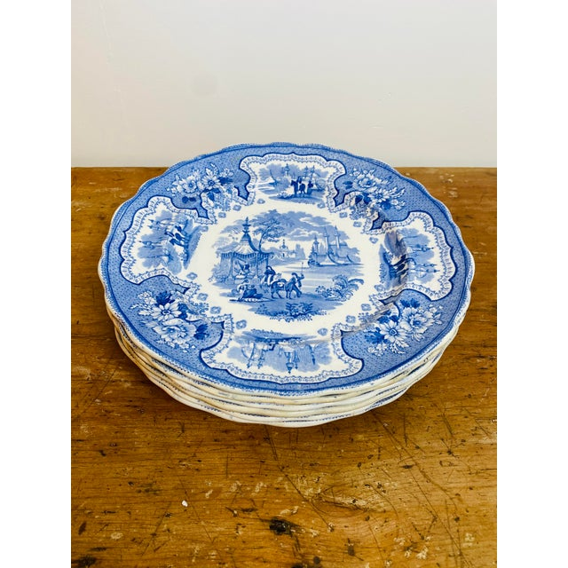 Antique Early 19th Century Staffordshire Blue and White Transferware Dinner Plates -Set of 6 For Sale - Image 9 of 9