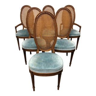 Mid-Century Italian Provincial Walnut Caned Dining Chairs - Set of 6 For Sale
