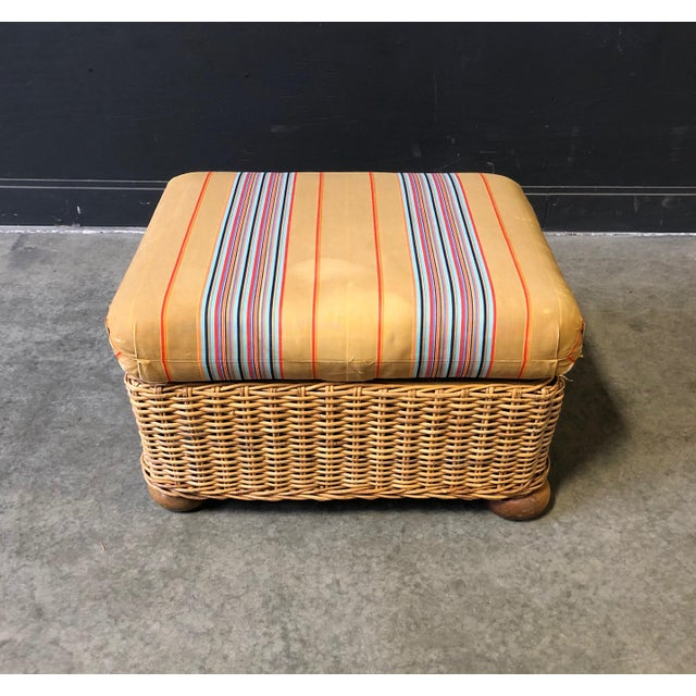 1970s Wicker Ottoman/FootStool With Ball Feet and Original Striped Silk Cushion For Sale - Image 5 of 7