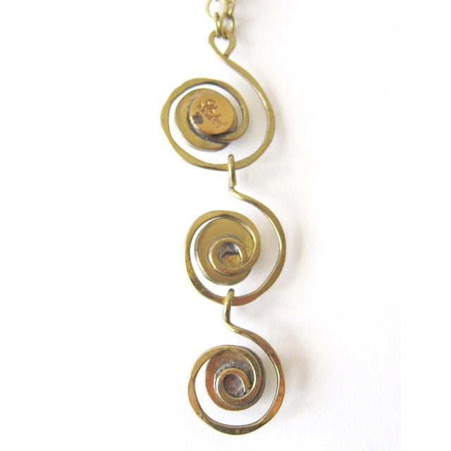 Mid-Century Modern Rafael of Canada Brass + Amber Tone Glass Canadian Modernist Necklace For Sale - Image 3 of 4
