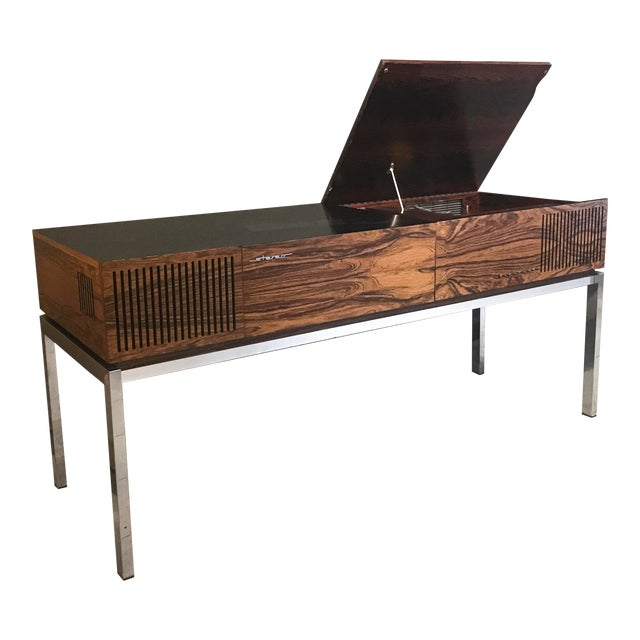 """1970s Blaupunkt GmbH """"Arizona"""" Rosewood & Chrome Stereo Console For Sale"""