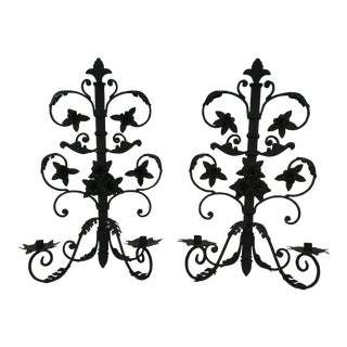 Black Iron Rose Wall Sconces - A Pair