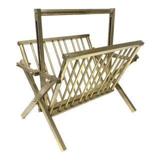 Mid-Century Campaign Brass Folding Magazine Rack For Sale