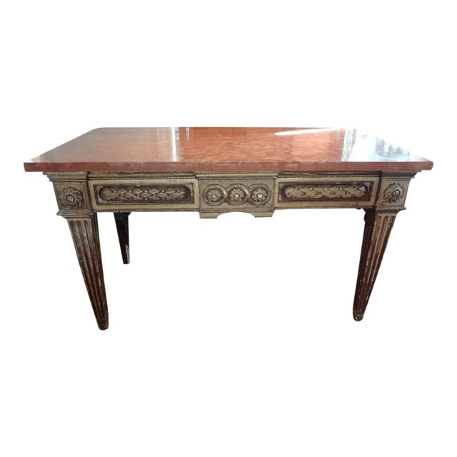 17th Century Italian Gilt Wood With Marble Top Console Table For Sale