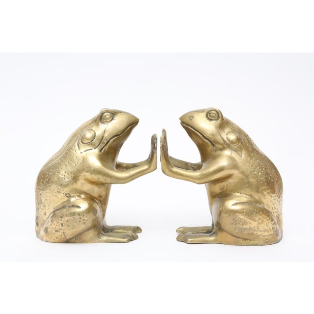 Vintage Brass Frog Bookends - A Pair For Sale - Image 5 of 5