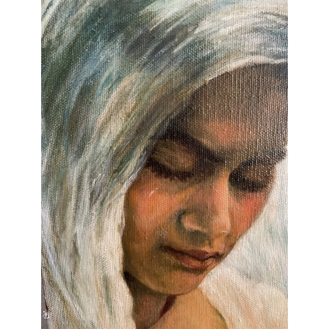 Woman with Flowers Oil Painting   Dated June 1968   So sweet & painted very well - this looks to be a bridal portrait with...