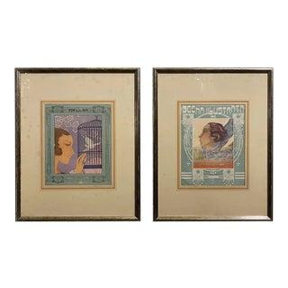 1930s Italian Art Deco Framed Prints - Set of 2 For Sale