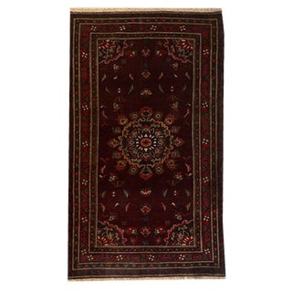 Traditional Hand Knotted Maroon, Red, Navy and Green Baluchi Rug - 3′8″ × 6′11″ For Sale