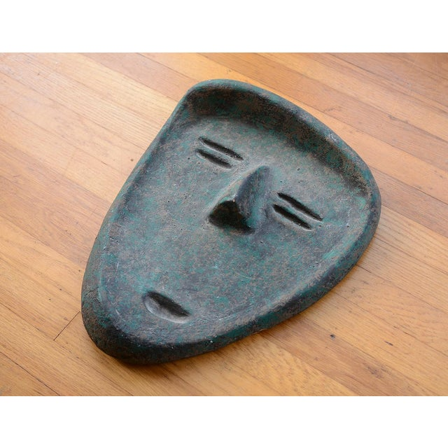 Ceramic Vintage Modernist Green Ceramic Tiki Face Sculpture For Sale - Image 7 of 13