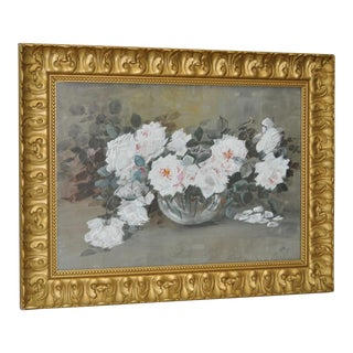 White Roses - an American Victorian Still Life Watercolor by Josie Hall C.1905