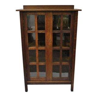 Gustav Stickley Mission Arts Crafts Oak Glass Door Bookcase For Sale
