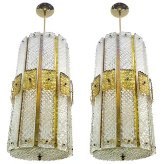 Pair of Large Textured Glass and Brass Chandelier For Sale