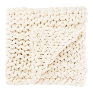 Nikki Chu by Jaipur Living Aya Ivory Solid Throw - 50 X 60 For Sale