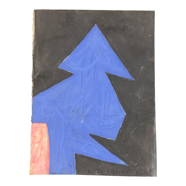"""Vintage Robert Cooke Abstract """"Blue Tree"""" Pastel Drawing 1981 For Sale"""