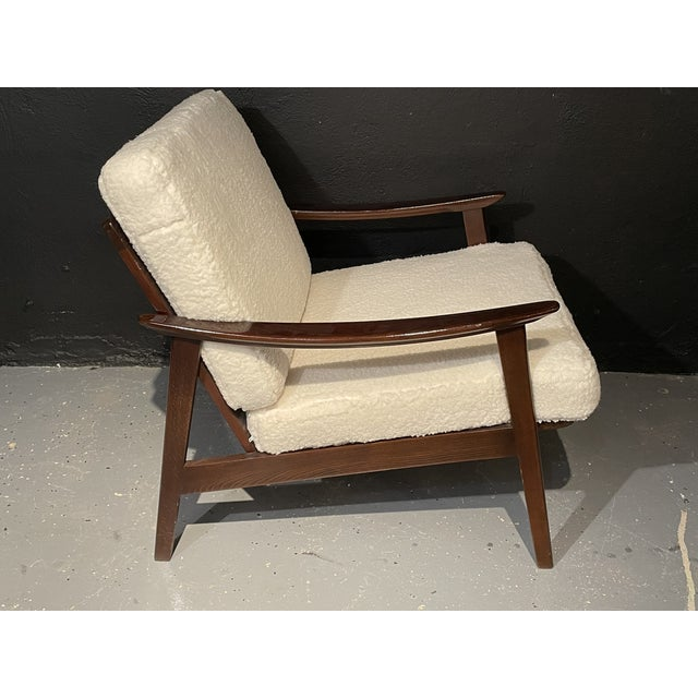 1950s Mid-Century Modern Lounge Chairs/ Style of Ib Kofod-Larsen, Plush Sherpa - a Pair For Sale - Image 5 of 11
