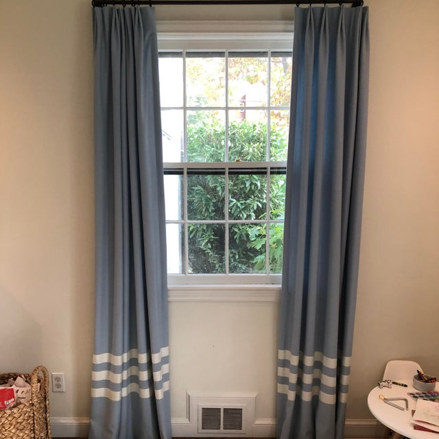 Textile Schumacher Blue With White Trim Curtain Panels - a Pair For Sale - Image 7 of 9