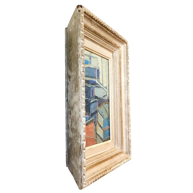 An abstract painting of stacked books, oil on wood in canvas by Daniel Clesse, painted in France, signed and dated in...