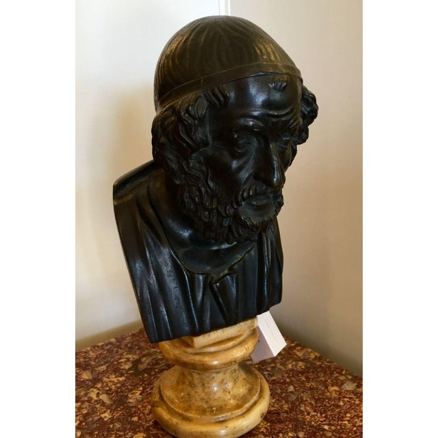 Antique Bronze Philosopher Bust - Image 3 of 5