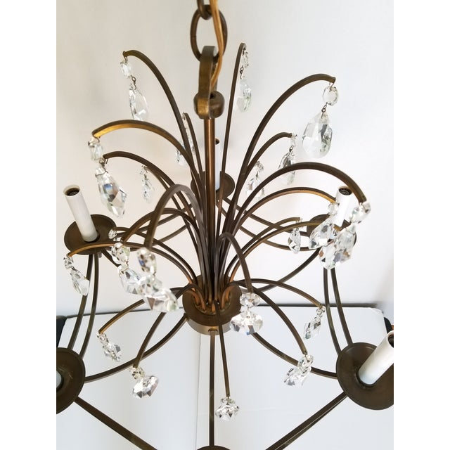 Metal Mid-Century Modern Crystal Swedish Chandelier For Sale - Image 7 of 13