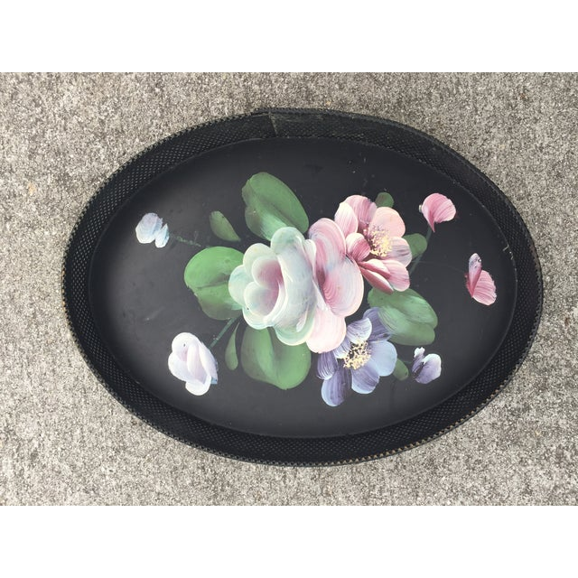 Small Hand-Painted Tole Tray Mesh Sides Floral For Sale - Image 10 of 10