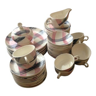 Vintage Pink & Black Dinnerware - Set of 60 For Sale