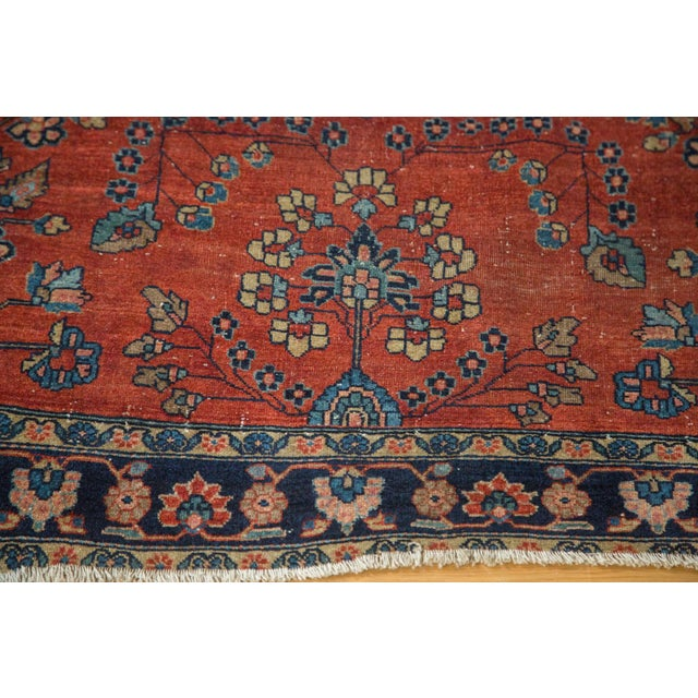 "Antique Manchester Kashan Square Rug - 3'4"" X 4'6"" - Image 5 of 8"