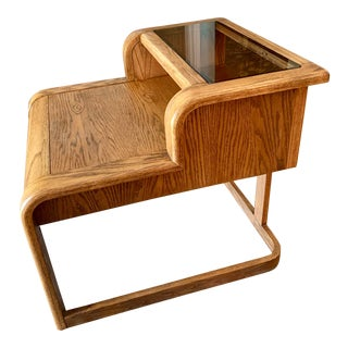 Boho Chic Bentwood Step End Table With Hidden Drawer For Sale