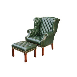 Tufted Green Leather Wingback Chair & Ottoman For Sale