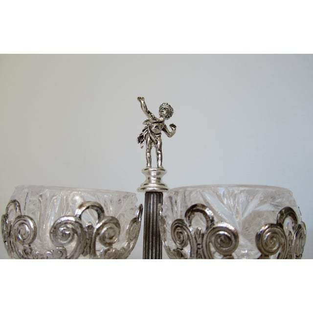 Vintage English Silver Plate Dual Salt & Pepper, Salt Serving Cellars W/Winged Cupid Figure - 3 Pieces For Sale - Image 10 of 13
