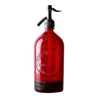1940s Vintage Decorative Red Seltzer Bottle For Sale